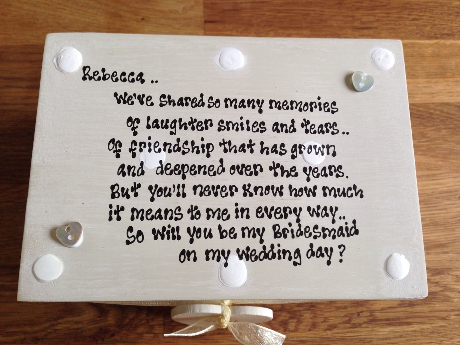 Wedding Gifts For Bridesmaids And Groomsmen Uk : ... Personalised Chic Gift Will You Be My Bridesmaid? Gift Trinket Box