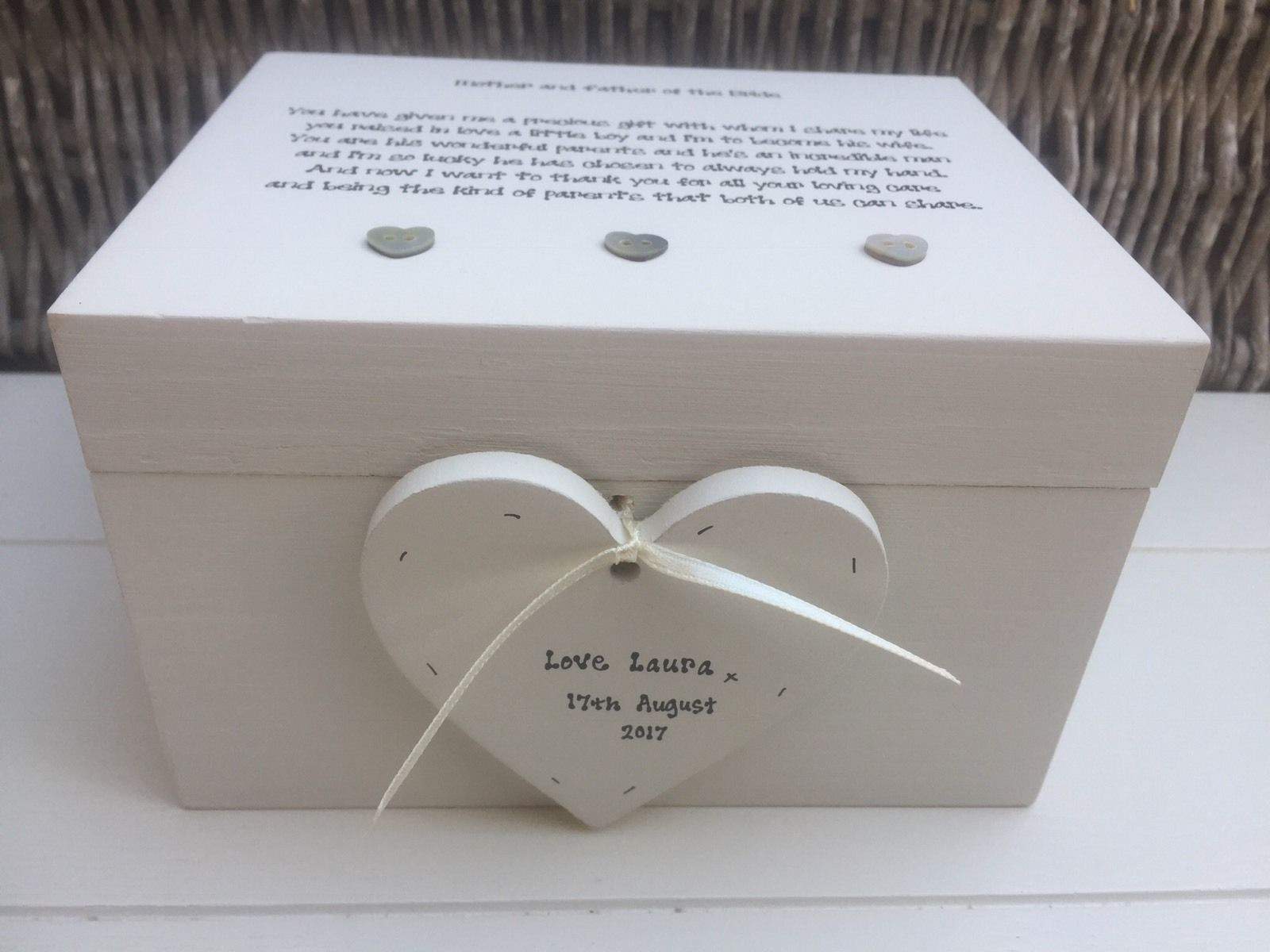 Personalised Wedding Gift Boxes Uk : Shabby Personalised Chic Mother & Father Of The Bride Wedding Gift ...