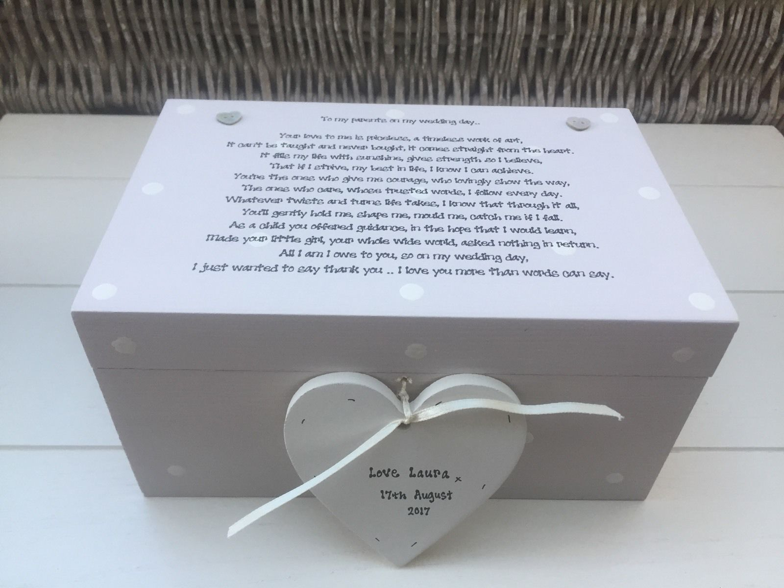 Personalised Wedding Gift Boxes Uk : Personalised Chic Mother & Father Of The Bride Wedding Gift LARGE Box ...
