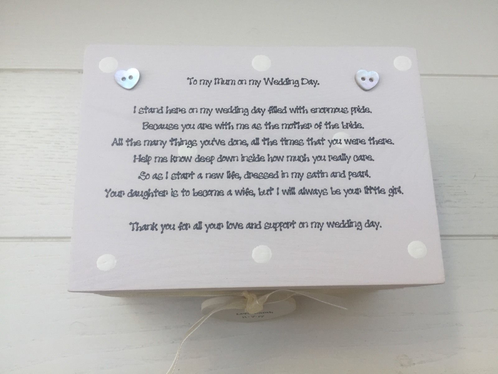 ... Special Mother Of The Bride Gift Keepsake Box Wedding - 252733393774