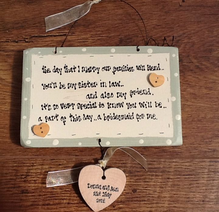 Wooden shabby plaque. Personalised Chic Bridesmaid Sister In Law Gift