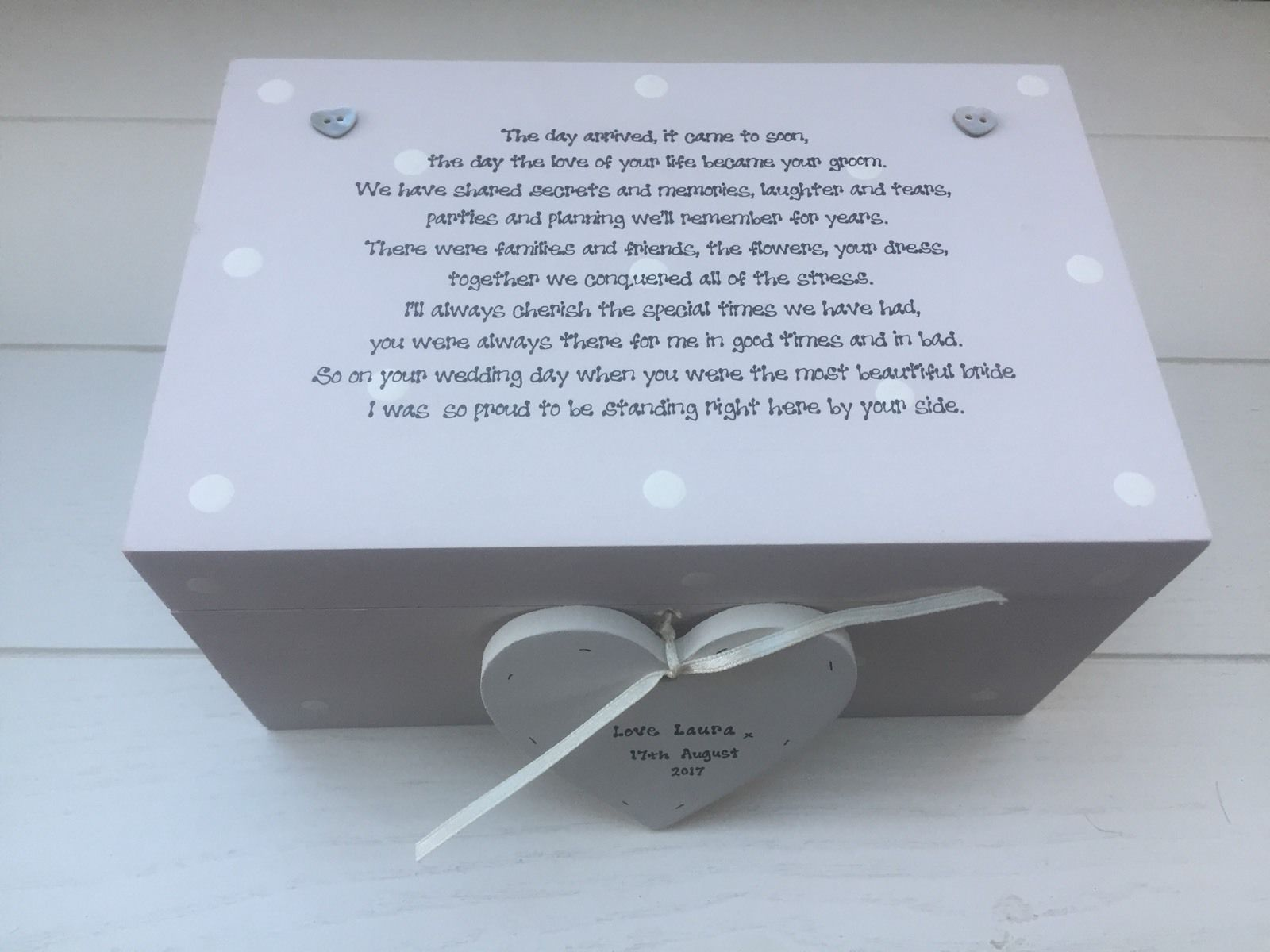 Shabby Personalised Chic Gift For Bride On Wedding Day From