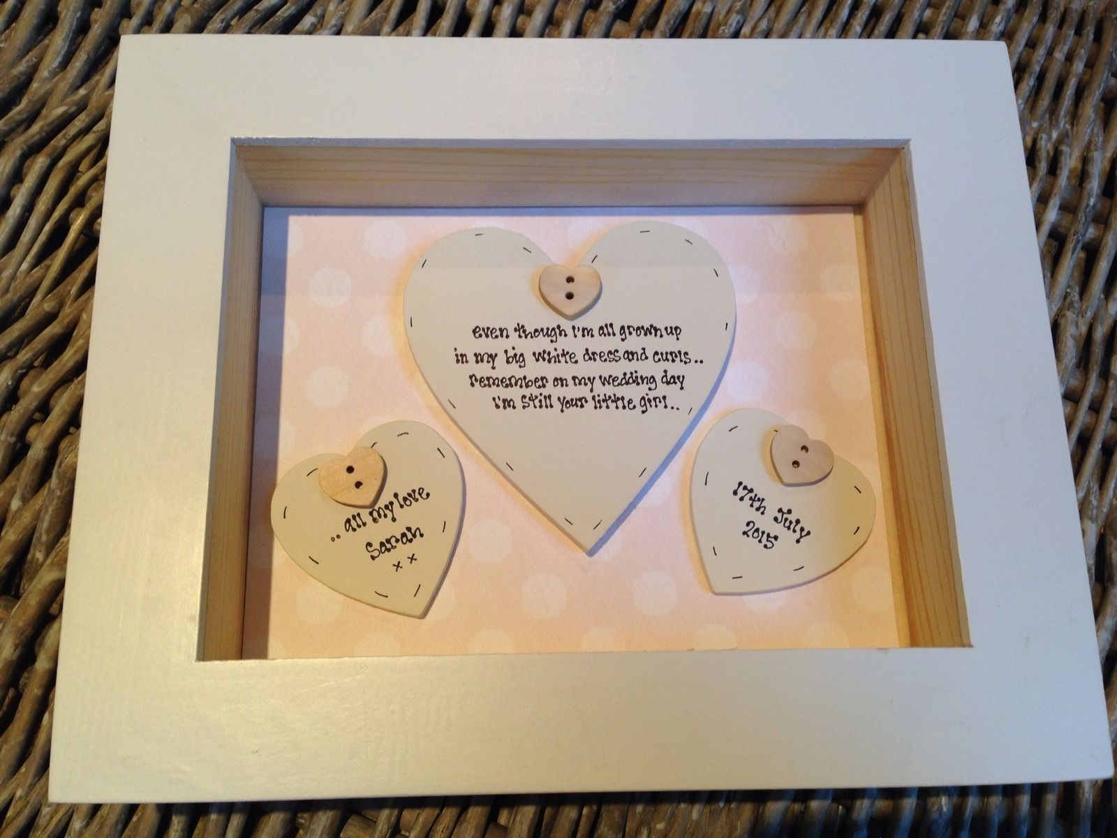Shabby Personalised Chic Mother Of The Bride Wedding Gift Box Frame